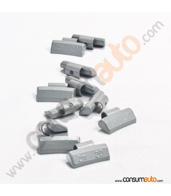 100 Contrapesas de Zinc 20Gr Llanta de Aluminio