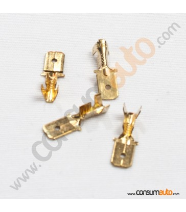 100 Terminales FastOn Macho Desnudo 6.3mm