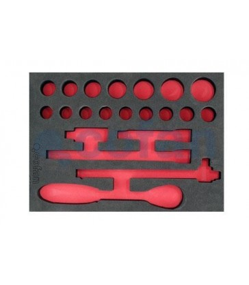 """Bandeja para juego de llaves de carraca 1/2"""" - 21 piezas"""