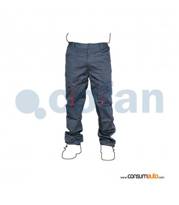 Pantalon de Trabajo Gris/Rojo Pro